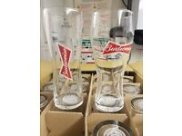 BUDWEISER PINT GLASSES X72 BAR PUB MANCAVE