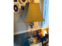 Metal and Glass Lamp with Fabric Shade