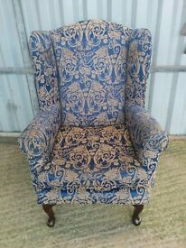 A Vintage Pattern Blue Fireside Chair