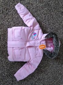 BNWT BlueZoo (Debenhams) pale pink bomber jacket with fur hood, age 2-3 £6