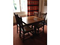 1930's Extendable Dining Room Table and 4 Chairs (Barley Twist)