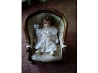 Porcelain Doll in Miniature Queen Ann Style Chair in Tapestry Fabric