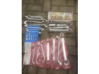 Mixture of ring and open ended spanners and insulated mole grips some new Hand Tool Sets & Kits