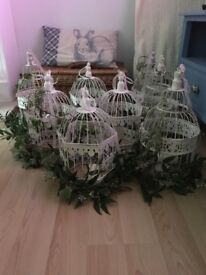 Eight shabby chic style bird cages