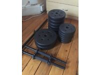 Pro Fitness Vinyl Barbell Dumbbell Set - 35kg of weights