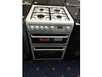 New Ex-Display Hotpoint HAG60P Double Oven Gas Cooker White £299