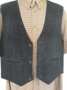 New Mens Suede Vest Large Black Waistcoat 42 44 Real Leather Deadstock Oakville