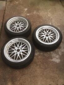 BMW 5x120 18x8 18x9 BBS LM staggered deep dish split rim replica alloy wheels 235/40 tyres drift.