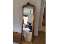 Beautiful tall freestanding cheval gold crested antique mirror (French style)