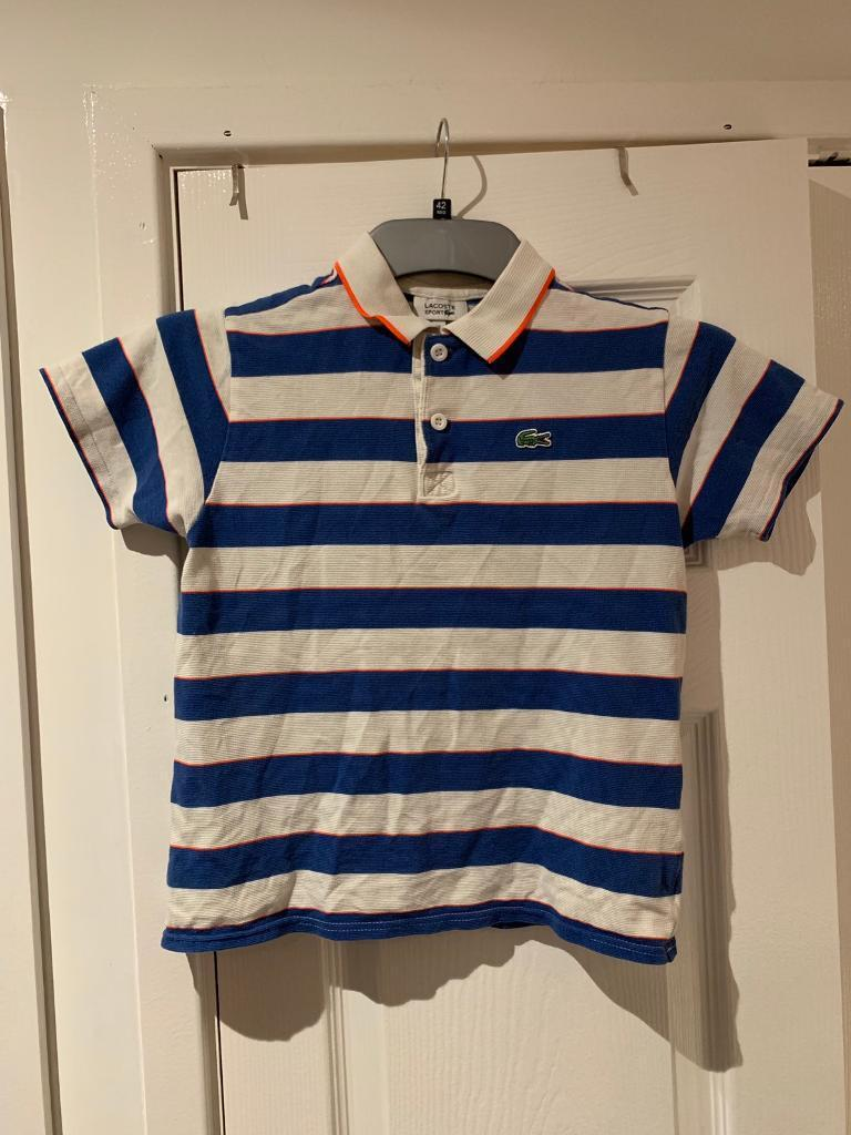 7bc24c548 Genuine boys Lacoste polo T-shirt age 10years 8 blue stripe | in ...