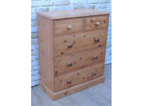Solid Welsh Pine medium large chest of 5 drawers (Delivery)
