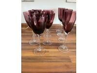 Purple wine and champagne glasses