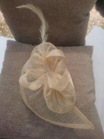 Creamy Pale Gold Teardrop Shape Sinamay Fascinator On Headband. Occasion Wear Weddings Parties Races