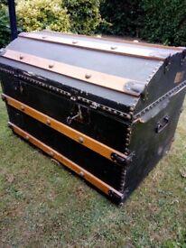 antique railway trunk chest blanket toy box