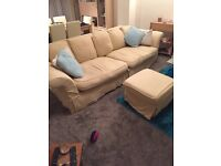 3 piece suite, chair and puffet