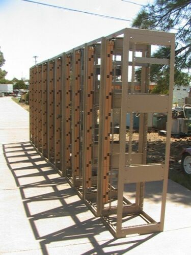 """Empty open 19"""" Server Equipment Racks - Used With Various Parts Attached"""