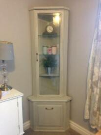Grey corner display cabinet