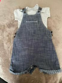 Baby boys dungarees set with grey vest size 9-12 months