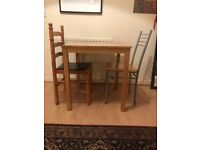 SQUARE TABLE AND 2 CHAIRS