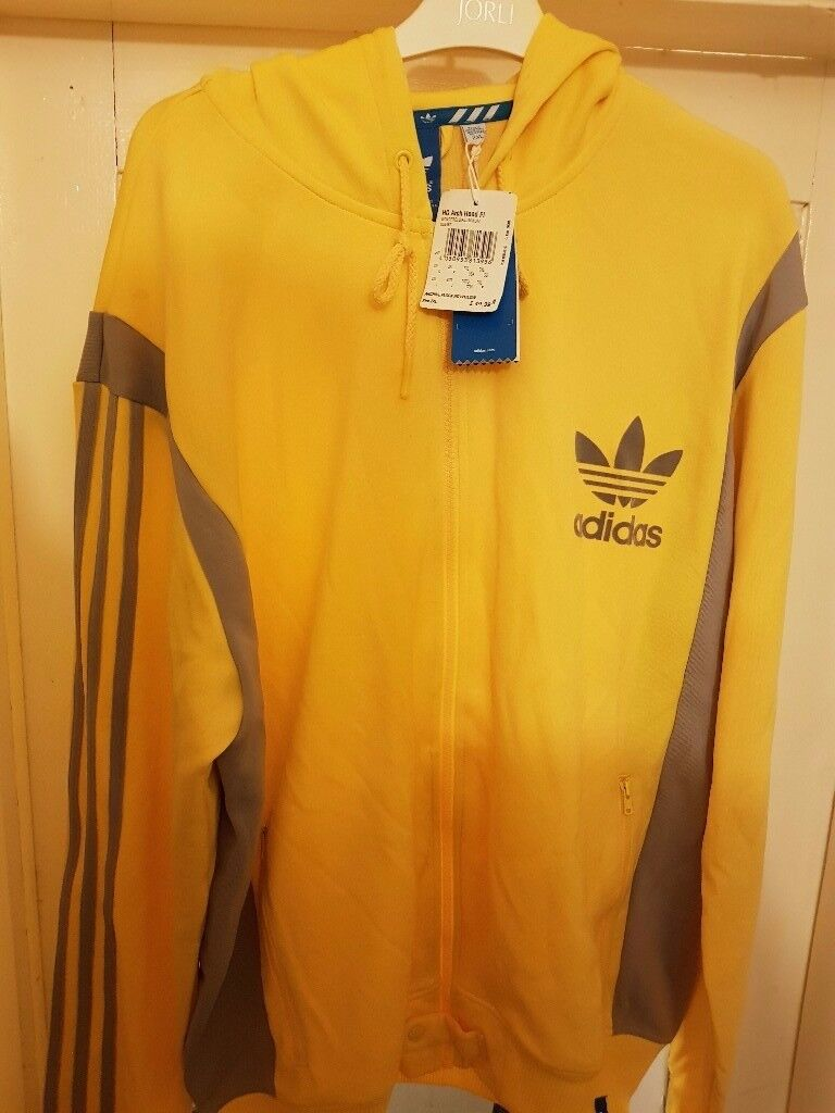 Brand New 2XL Yellow Hooded Adidas Tracksuit Top
