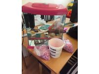 17 litre pink fish tank with filter and stones