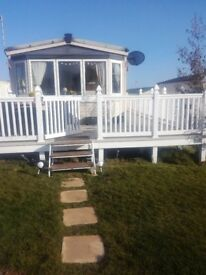 Static caravan 3 bedroom pet friendly opp beach ,on bus routes to scarbourgh and filey and whitby,