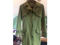 Women's small designer Paul costelloe Mac trench coat green