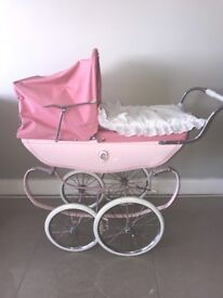Pink Silvercross dolls pram and pram set