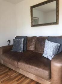 Marks and Spencer's 3 seater tanned leather sofa