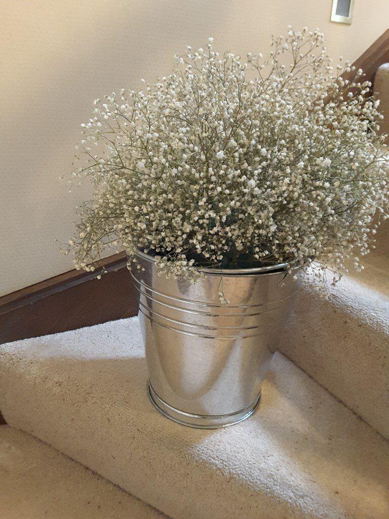 2 Large Metal Pails suitable for garden planters or floral/greenery arrangements