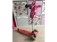 Pink mini micro scooter and bag