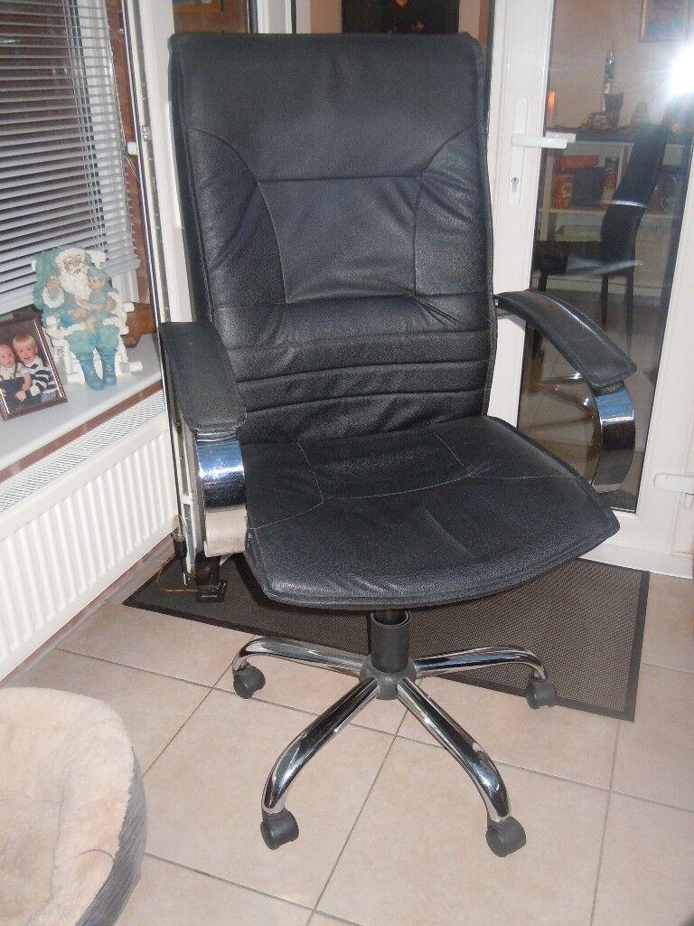 Black PVC & Chrome Office Chair