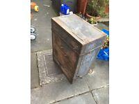 Metal/wood antique storage box