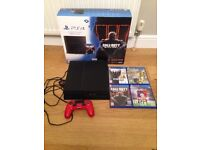 PS4 TB1 CONSOLE WITH 4 GAMES AND ORIGINAL PACKAGING