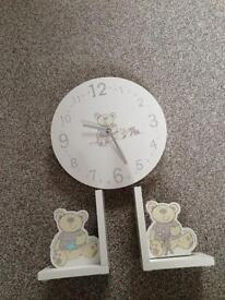 I love my bear clock and book stops