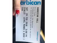 2 Nils Frahm tickets Barbican Saturday 24th 15:00 Very good seats