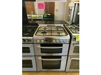 INDESIT STAINLESS STEEL 60CM WIDE DOUBLE OVEN FULL GAS COOKER WITH GLASS LID