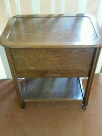 Sewing box trolley with drawer and tray