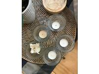 Set of 5 glass tealight candle holders