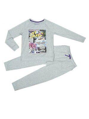 M&S Girls Grey Lost Galaxy cat motif Long Sleeve Pyjama set Age 7 12 - Girls Pajama Sale