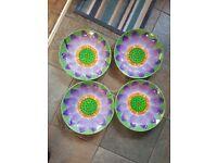 4 Party Bowls Flower design - bargain