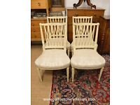 VINTAGE SHABBY CHIC PAINTED HEPPLEWHITE CHAIRS SET OF FOUR