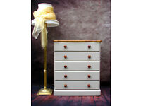 Vintage Solid Pine Chest Of Drawers Painted Country Farmhouse