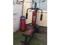 Multi gym, weight bench and boxing bag