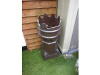 Glazed Victorian Chimney pot over 100yrs. old. Damage to top but hidden when plants are in.