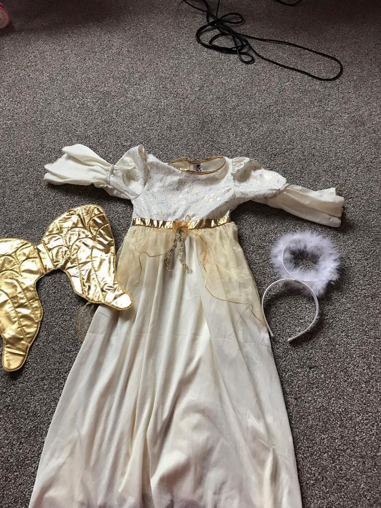 TU angel costume with headband and wings 5-7