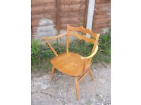 Vintage Retro Ercol 493 Windsor Carver Elbow Beechwood Armchair Dining Chair