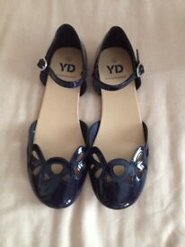 Navy Patent Style Shoes Size 3 Brand New