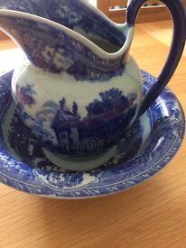 Blue and white china jug and washbowl ornate