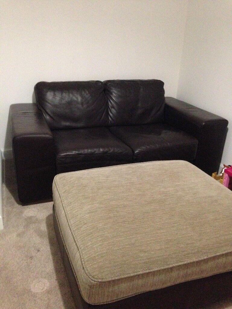 Natuzzi Brown Leather 2 Seater Sofa With Half Leather Half
